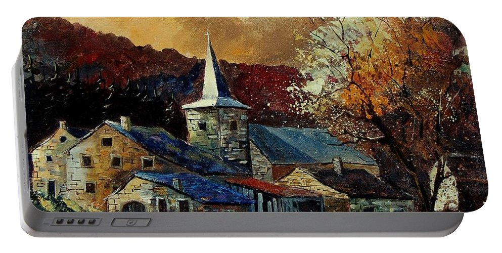 Tree Portable Battery Charger featuring the painting A Village In Autumn by Pol Ledent