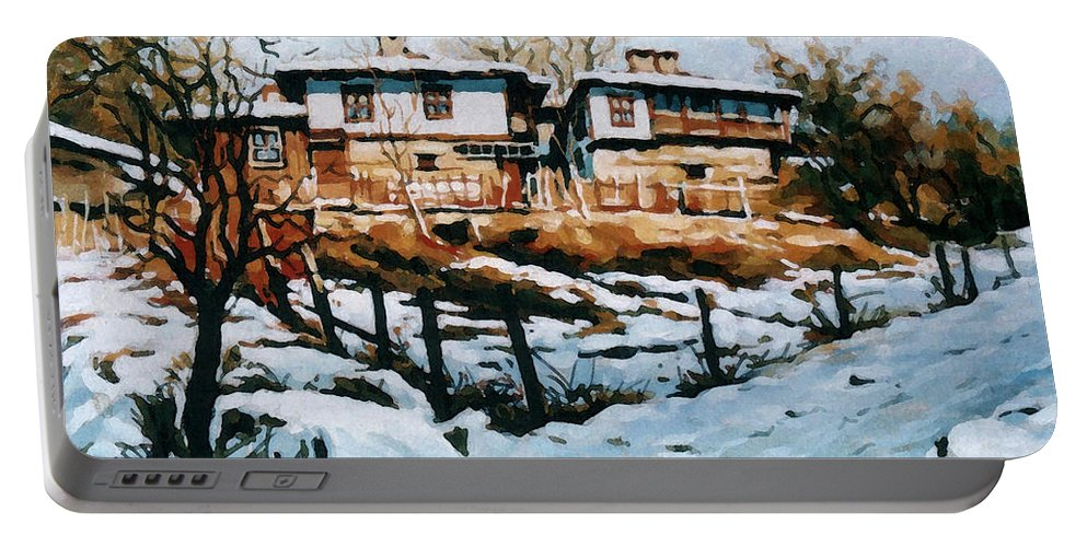 Landscape Portable Battery Charger featuring the painting A Village In Winter by Iliyan Bozhanov