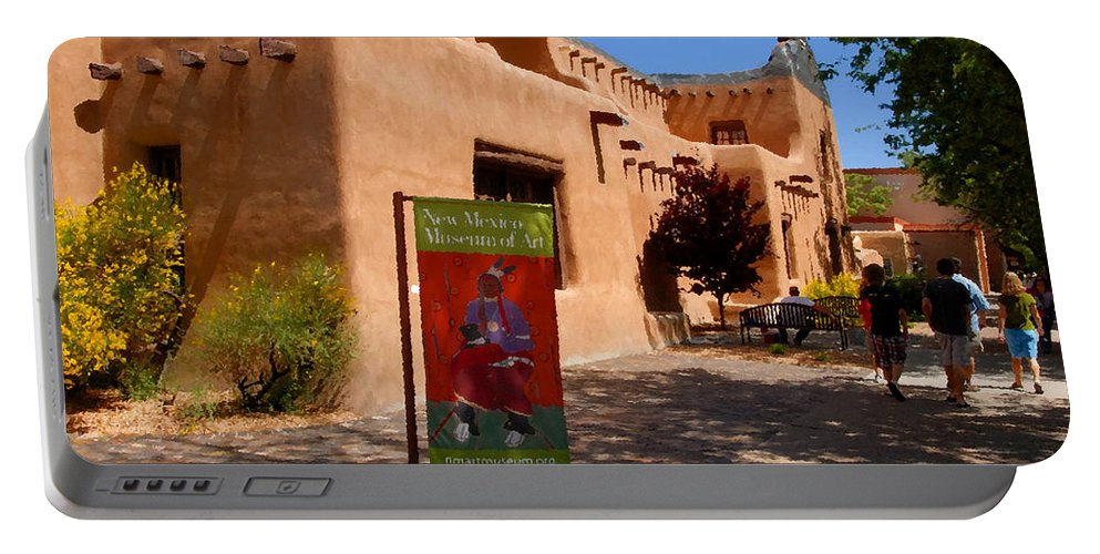 New Mexico Museum Of Art Portable Battery Charger featuring the painting A Visit To The Museum by David Lee Thompson