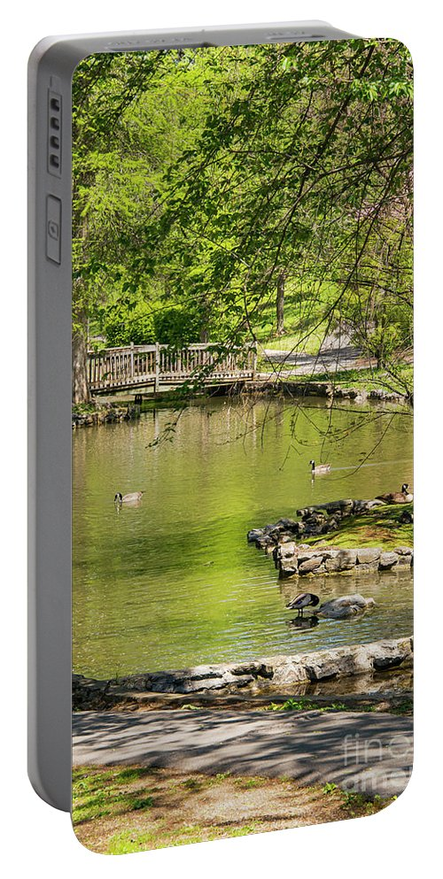 Hagerstown Maryland Lake Lakes Water Landscape Landscapes Bridge Bridges Tree Trees Bloom Blooms Nature City Park Parks Portable Battery Charger featuring the photograph A Walk In City Park by Bob Phillips