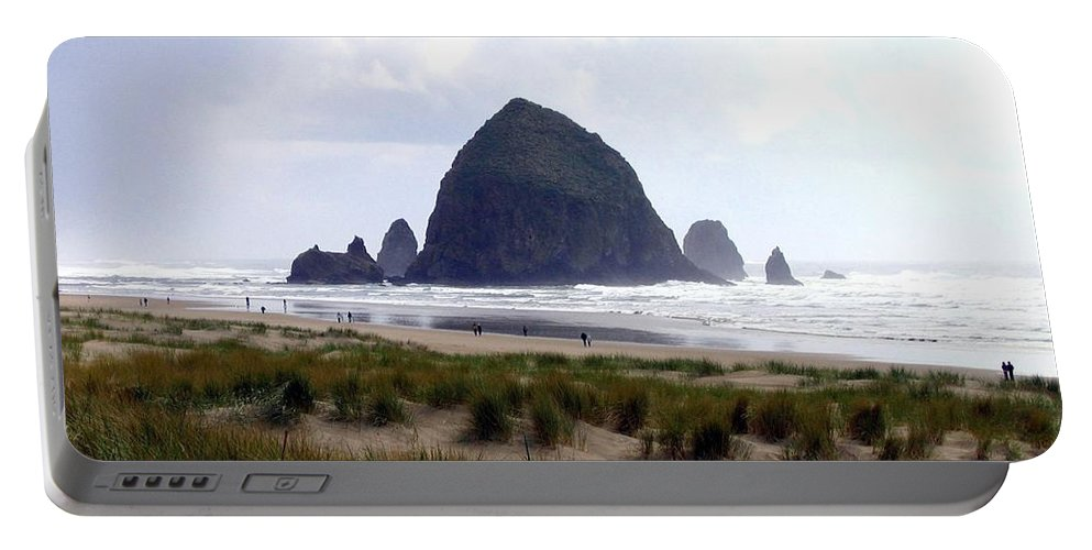 Cannon Beach Portable Battery Charger featuring the photograph A Walk In The Mist by Will Borden