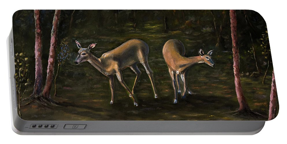 Landscape Portable Battery Charger featuring the painting A Walk In The Park by Ron Gallant