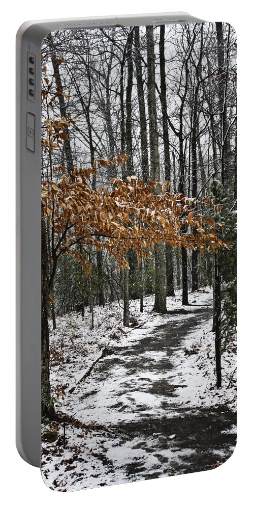 Snow Portable Battery Charger featuring the photograph A Walk In The Snow Quantico National Cemetery by Teresa Mucha
