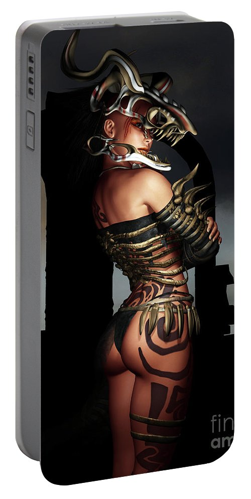 3d Portable Battery Charger featuring the digital art A Warrior Stands Alone by Alexander Butler
