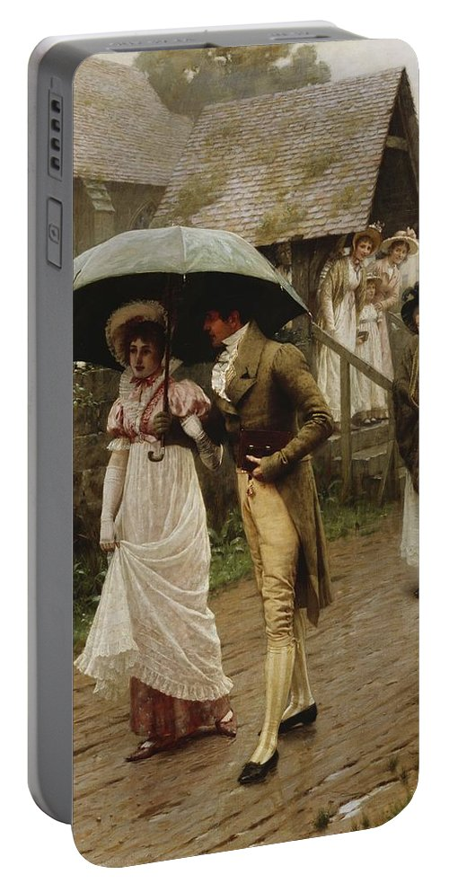 A Wet Sunday Morning Portable Battery Charger featuring the painting A Wet Sunday Morning by Edmund Blair Leighton