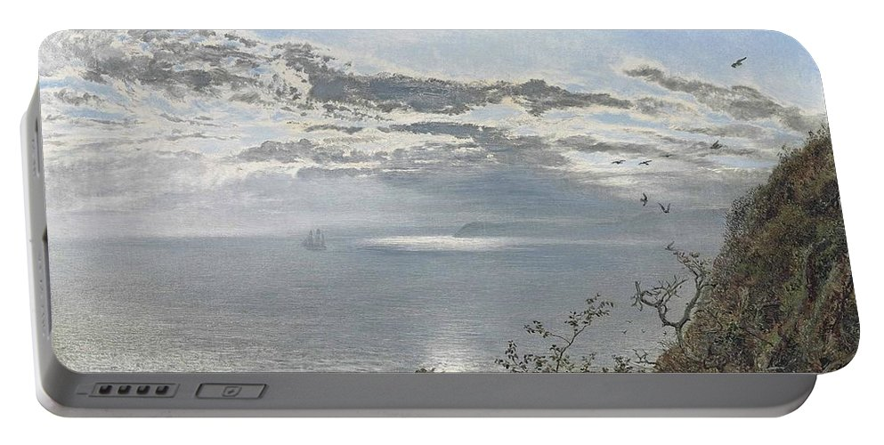Henry Moore Portable Battery Charger featuring the painting A White Calm After Thunder Showers by MotionAge Designs