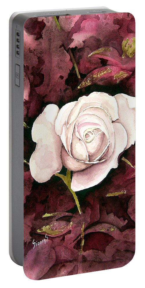 Flower Portable Battery Charger featuring the painting A White Rose by Sam Sidders