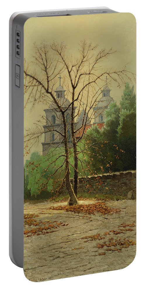 Edwin Deakin (1838-1923) A Winter Day Portable Battery Charger featuring the painting A Winter Day by MotionAge Designs