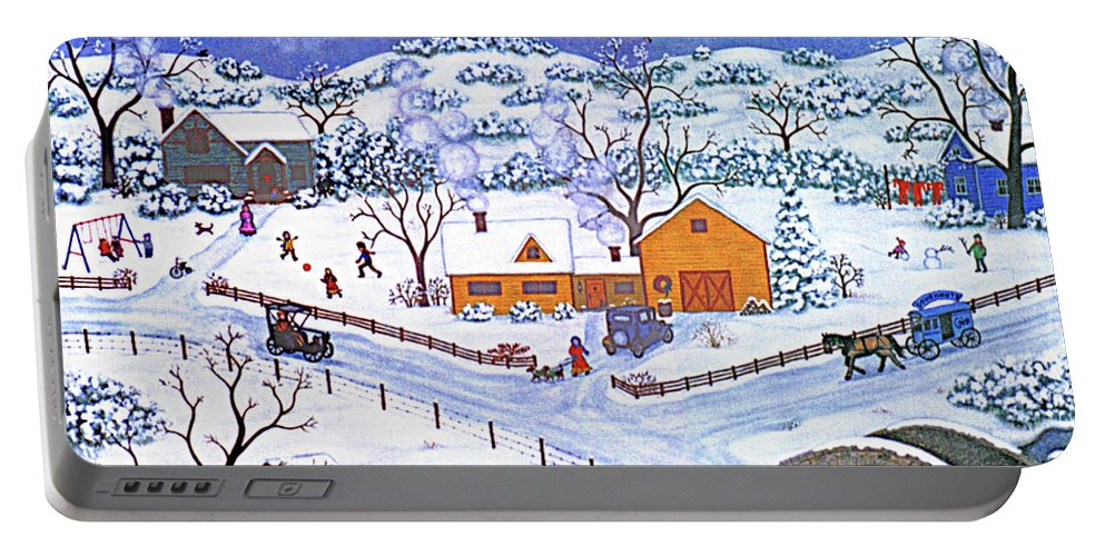Winter Landscape Portable Battery Charger featuring the painting A Winter Evening by Linda Mears