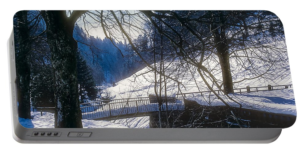 Black Forest Baden-wurttemberg Germany Snow Winter Tree Trees Structure Structures Bridge Bridges Fence Fences Architecture Landscape Landscapes Snowscape Snowscapes Portable Battery Charger featuring the photograph A Winter Walk In The Black Forest by Bob Phillips
