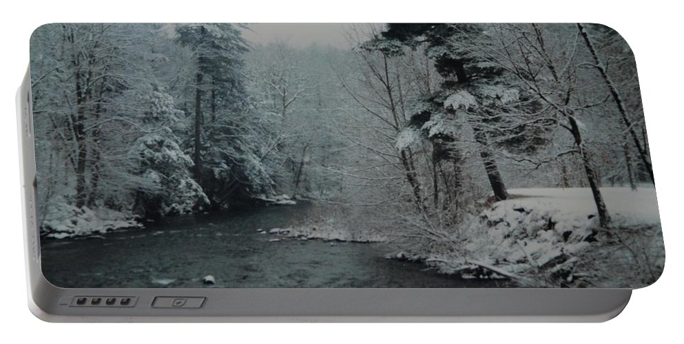 B&w Portable Battery Charger featuring the photograph A Winter Waterland by Rob Hans