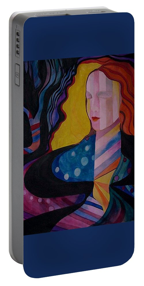 Portraits Portable Battery Charger featuring the painting A Woman Of Color by Carolyn LeGrand
