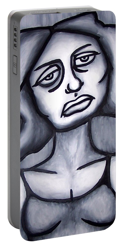 Portait Portable Battery Charger featuring the painting A Woman by Thomas Valentine