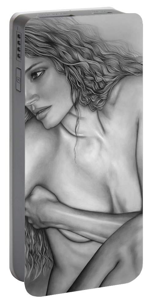 A Woman's Beauty Portable Battery Charger featuring the drawing A Womans Beauty by Larry Lehman