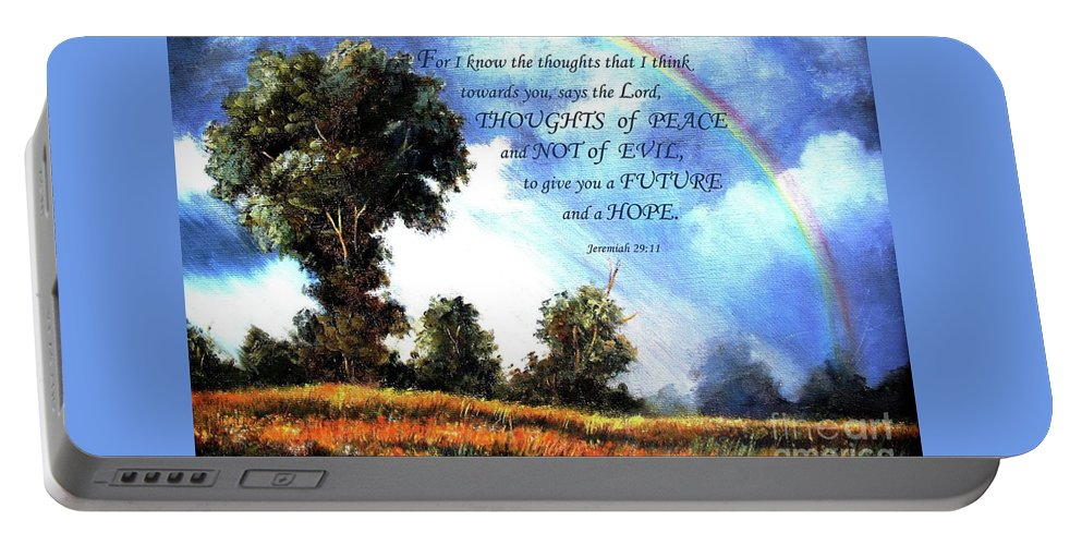 Rainbow Portable Battery Charger featuring the painting A Word Of Hope by Hazel Holland