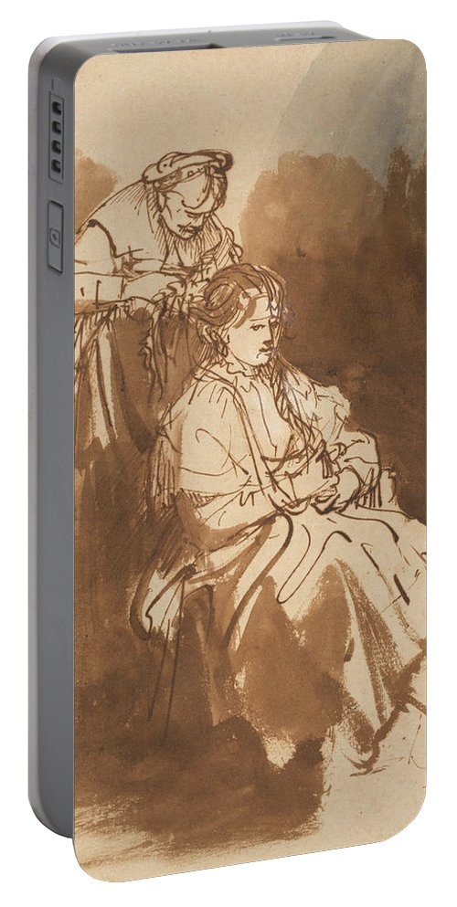 Rembrandt Portable Battery Charger featuring the drawing A Young Woman Having Her Hair Braided by Rembrandt