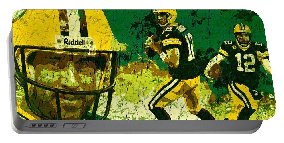 Aaron Rodgers Portable Battery Charger featuring the painting Aaron Rodgers 2015 by John Farr