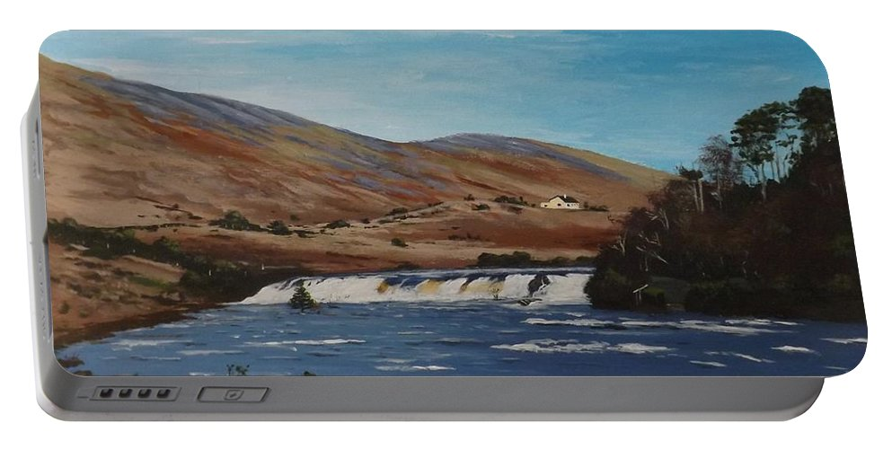 West Of Ireland Portable Battery Charger featuring the painting Aasleagh Falls by Tony Gunning