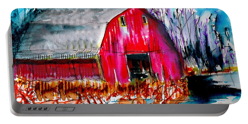 Abandoned Portable Battery Charger featuring the painting Abandoned Barn by Seth Weaver