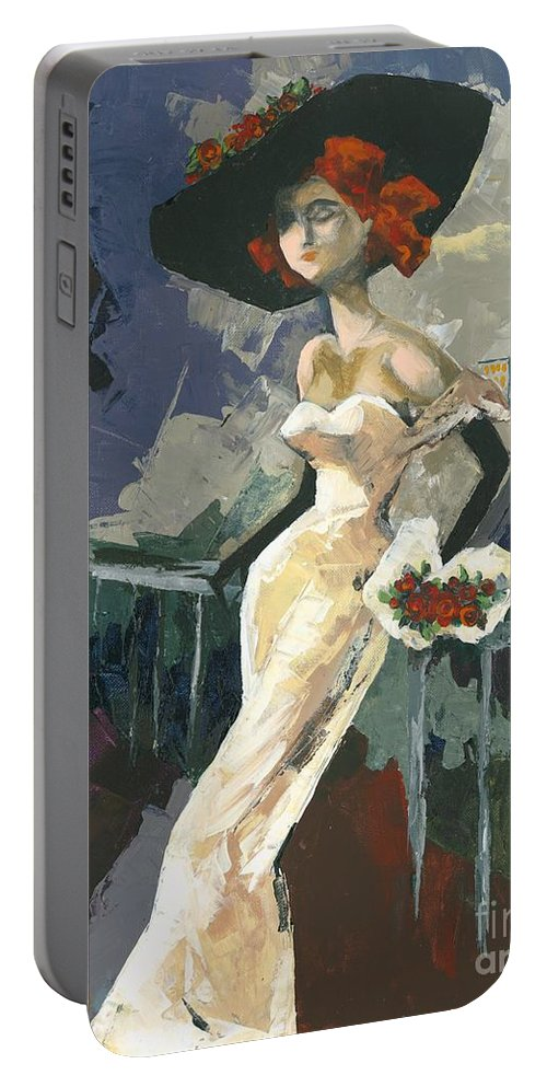 Acrylic Portable Battery Charger featuring the painting Abandoned by Elisabeta Hermann