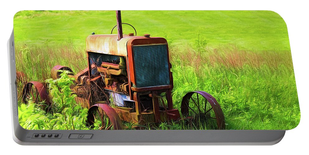 Tractor Portable Battery Charger featuring the photograph Abandoned Farm Tractor by Tom Mc Nemar