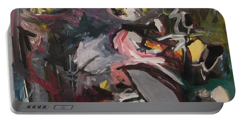 Abstract Paintings Portable Battery Charger featuring the painting Abandoned Ideas4 by Seon-Jeong Kim