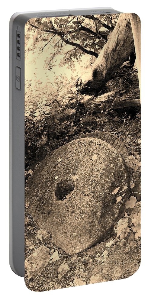 Mill Portable Battery Charger featuring the photograph Abandoned Mill-stone by Bob Kemp