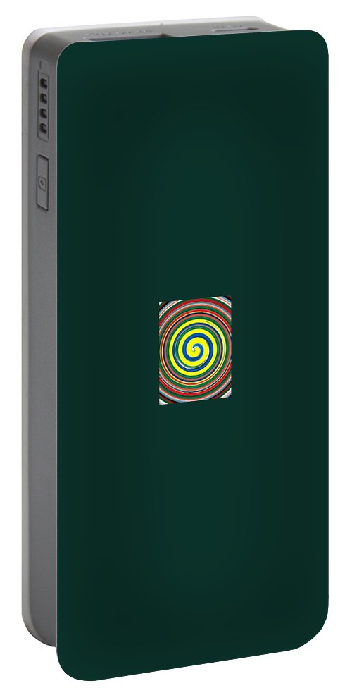 Digital Spiral Portable Battery Charger featuring the painting Abb1 by Andrew Johnson