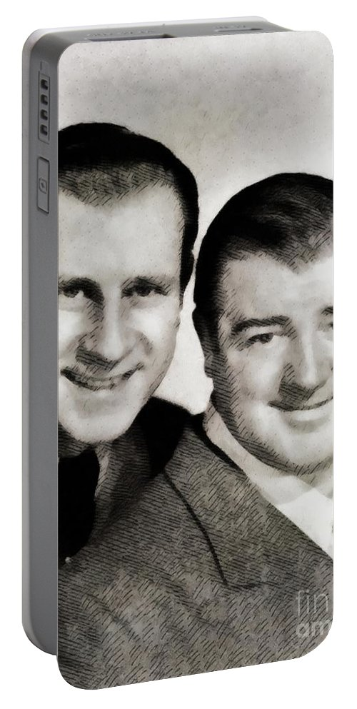 Abbott Portable Battery Charger featuring the painting Abbott And Costello by John Springfield