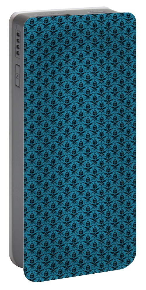 Damask Portable Battery Charger featuring the digital art Abby Damask In Black Pattern 18-p0113 by Custom Home Fashions