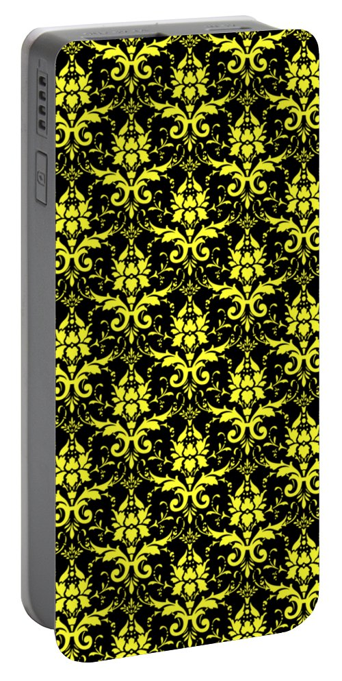Damask Portable Battery Charger featuring the digital art Abby Damask With A Black Background 05-p0113 by Custom Home Fashions