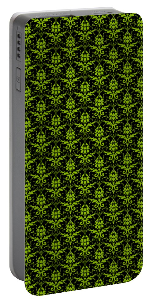Damask Portable Battery Charger featuring the digital art Abby Damask With A Black Background 09-p0113 by Custom Home Fashions