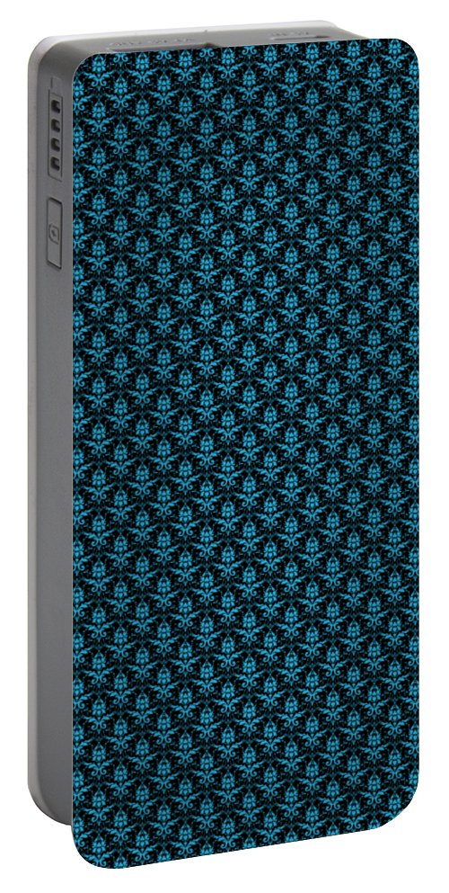 Damask Portable Battery Charger featuring the digital art Abby Damask With A Black Background 18-p0113 by Custom Home Fashions