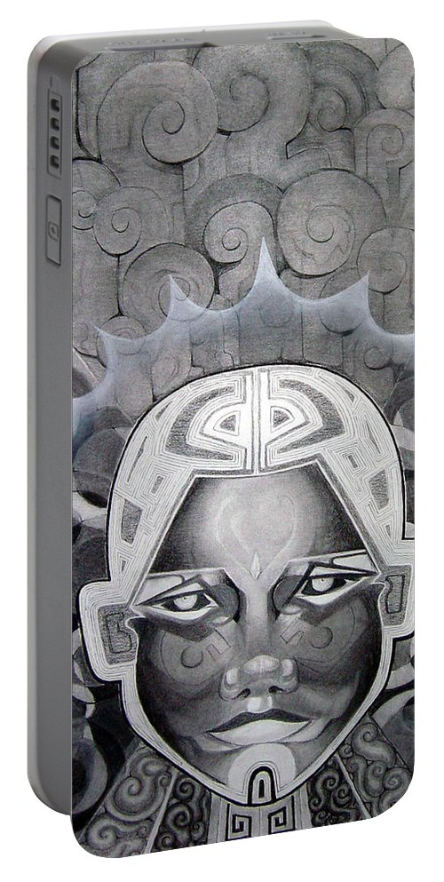 Art Portable Battery Charger featuring the drawing Abcd by Myron Belfast