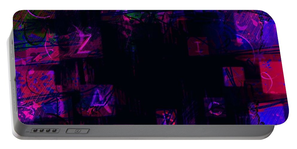 Abstract Portable Battery Charger featuring the digital art Abc's by Rachel Christine Nowicki