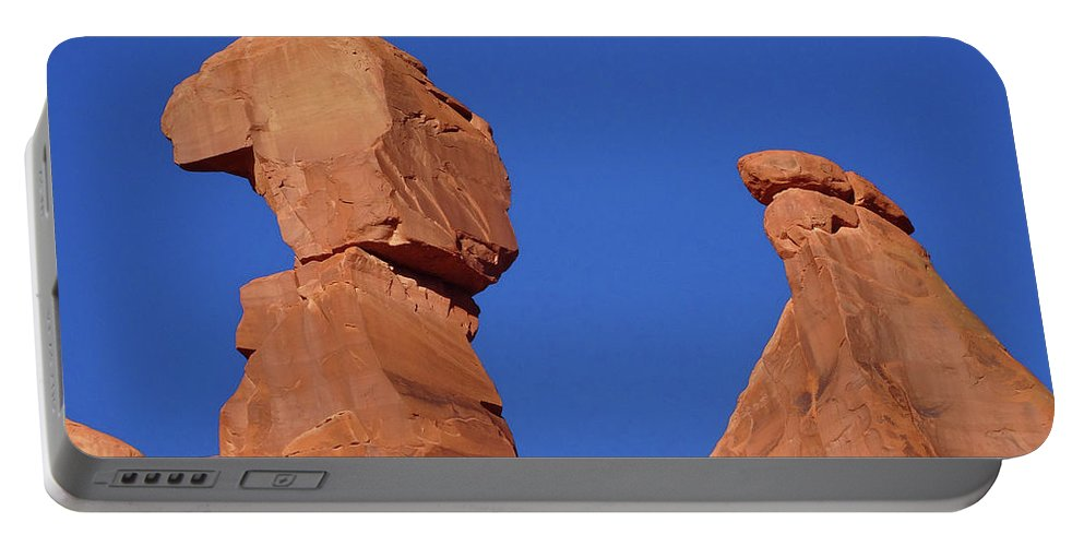 Rock Formations Portable Battery Charger featuring the photograph About To Topple by Eunice Warfel