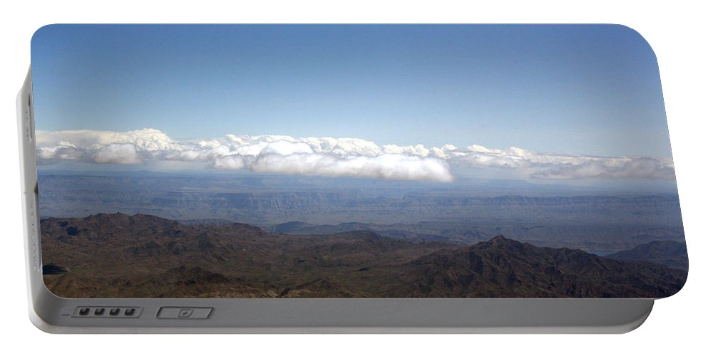 Nevada Desert Clouds Scenery Hills Landscape Sky Canyon Portable Battery Charger featuring the photograph Above Nevada by Andrea Lawrence