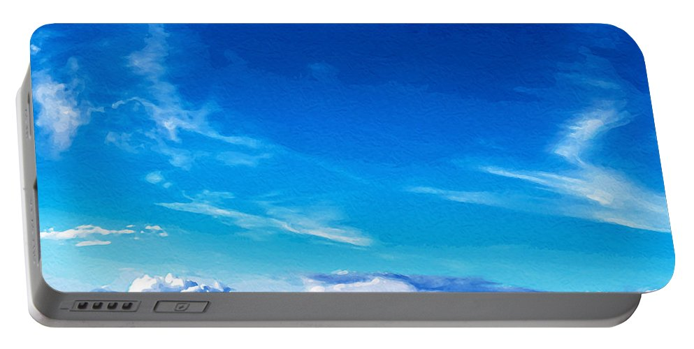 Painting Portable Battery Charger featuring the mixed media Above The Clouds Sky Is Always Blue by Mari Biro