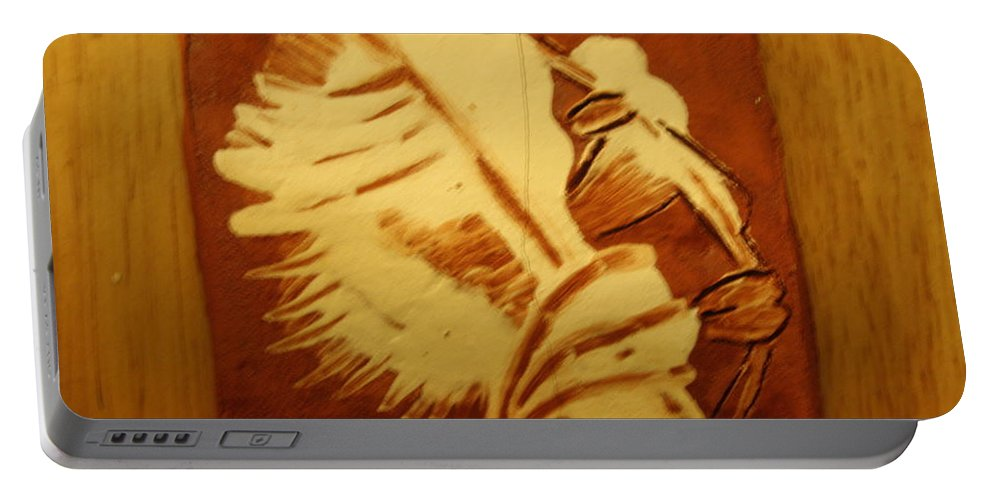 Jesus Portable Battery Charger featuring the ceramic art Abraham - Tile by Gloria Ssali
