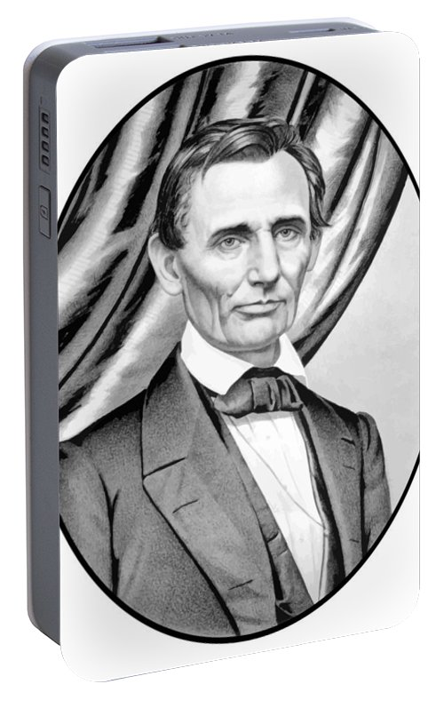 Abraham Lincoln Portable Battery Charger featuring the painting Abraham Lincoln Circa 1860 by War Is Hell Store