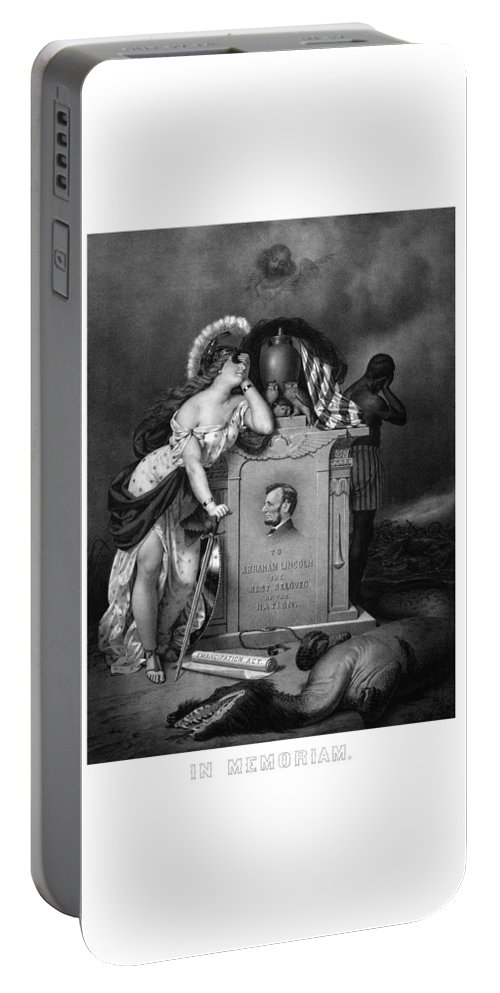 Abraham Lincoln Portable Battery Charger featuring the painting Abraham Lincoln In Memoriam by War Is Hell Store