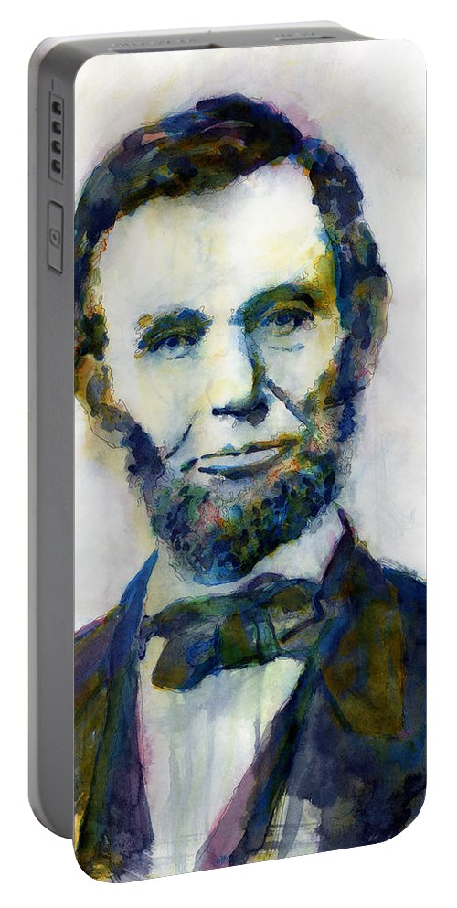 Abraham Portable Battery Charger featuring the painting Abraham Lincoln Portrait Study 2 by Hailey E Herrera