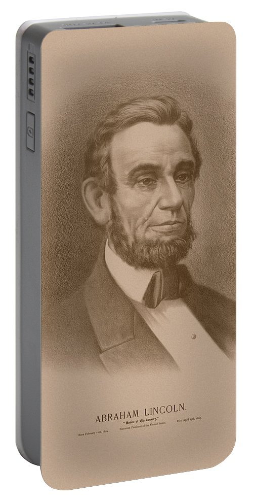Abraham Lincoln Portable Battery Charger featuring the drawing Abraham Lincoln - Savior Of His Country by War Is Hell Store