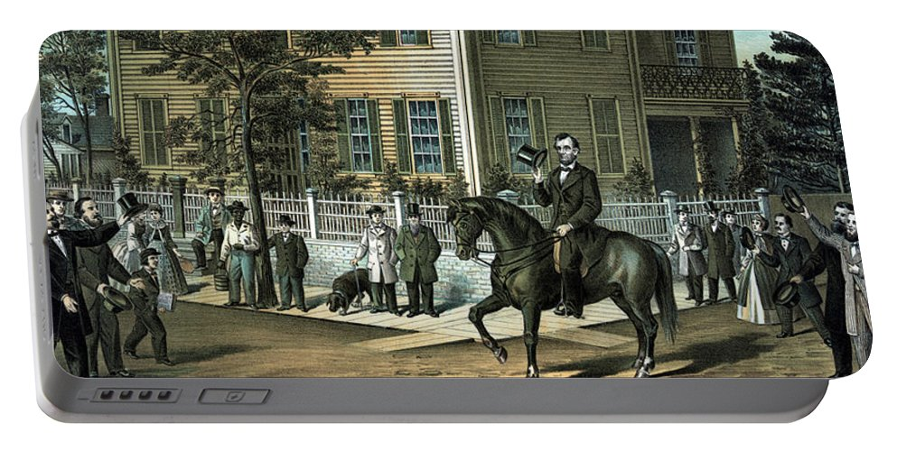 Abraham Lincoln Portable Battery Charger featuring the painting Abraham Lincoln's Return Home by War Is Hell Store