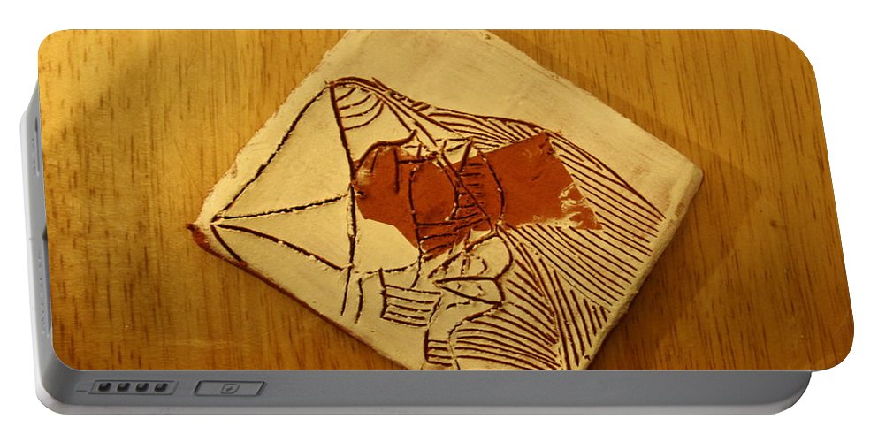 Jesus Portable Battery Charger featuring the ceramic art Abram - Tile by Gloria Ssali