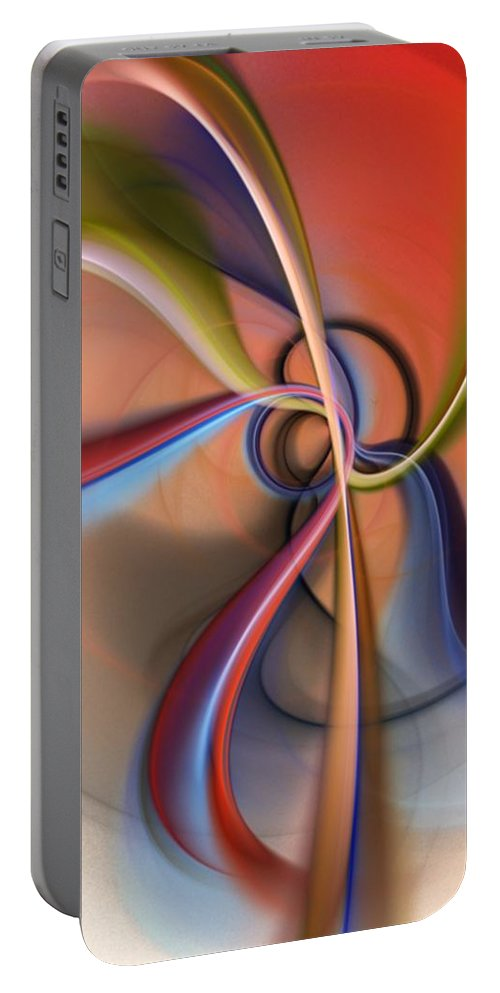 Fractal Portable Battery Charger featuring the digital art Abstract 0414111 by David Lane