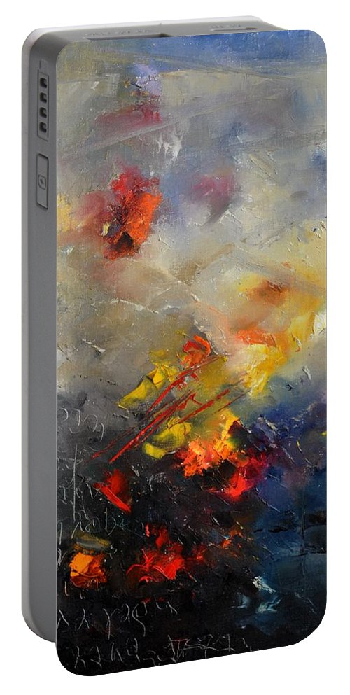 Abstract Portable Battery Charger featuring the painting Abstract 0805 by Pol Ledent