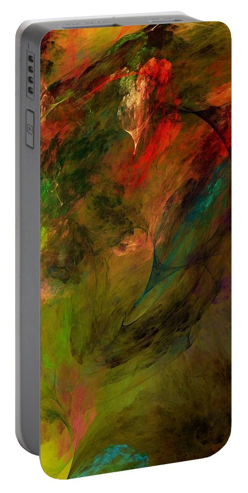 Abstract Portable Battery Charger featuring the digital art Abstract 112210a by David Lane
