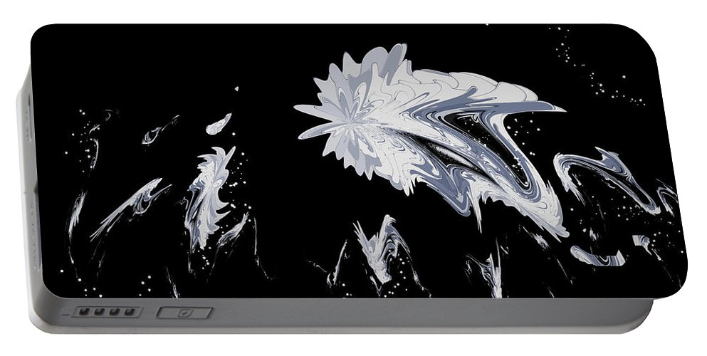 Black And White Abstract Portable Battery Charger featuring the digital art Abstract 385 by Judi Suni Hall