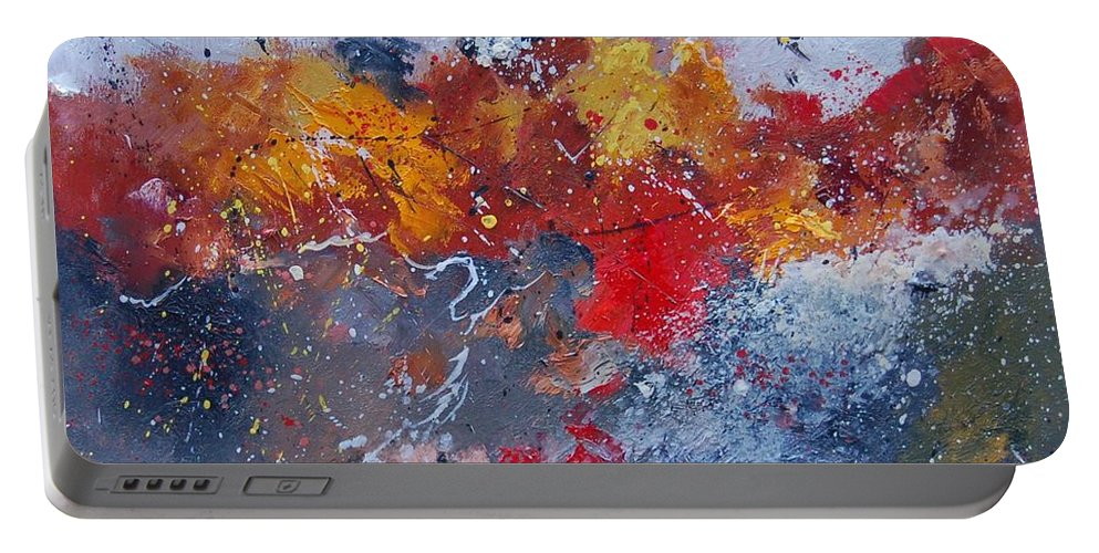 Abstract Portable Battery Charger featuring the painting Abstract 55902110 by Pol Ledent